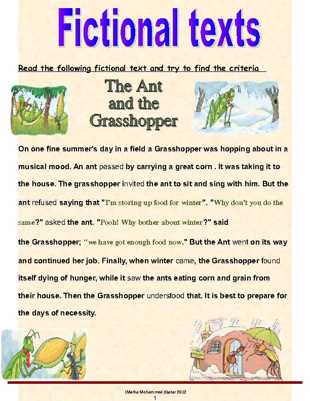 Printable Worksheets the grasshopper and the ant worksheets : of Fictional Texts