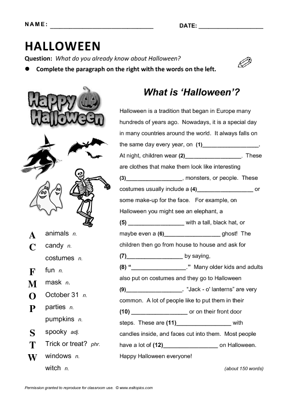 is Halloween Reading GapFill – Halloween Reading Worksheets