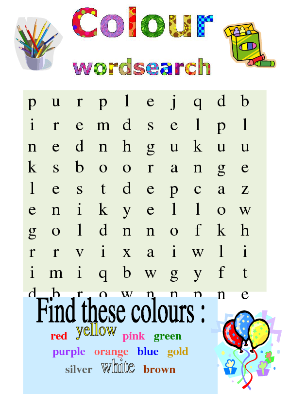 colour word search. Black Bedroom Furniture Sets. Home Design Ideas