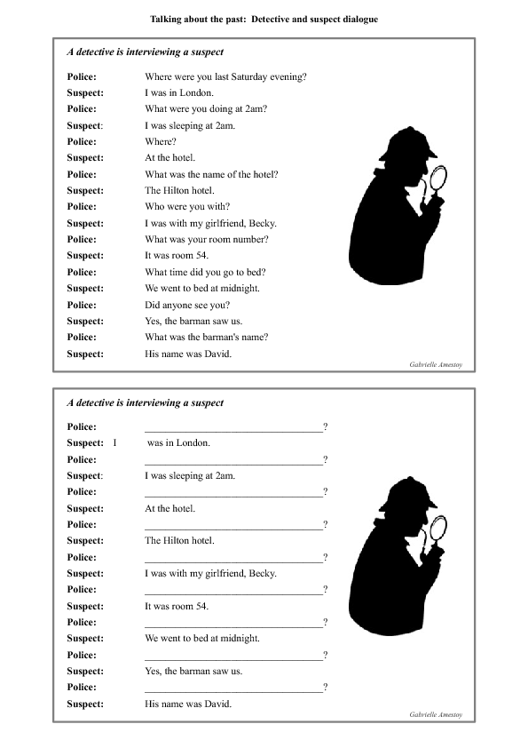 Free Worksheets worksheet simple past : Talking about the Past: Detective and Suspect Dialogue and ...