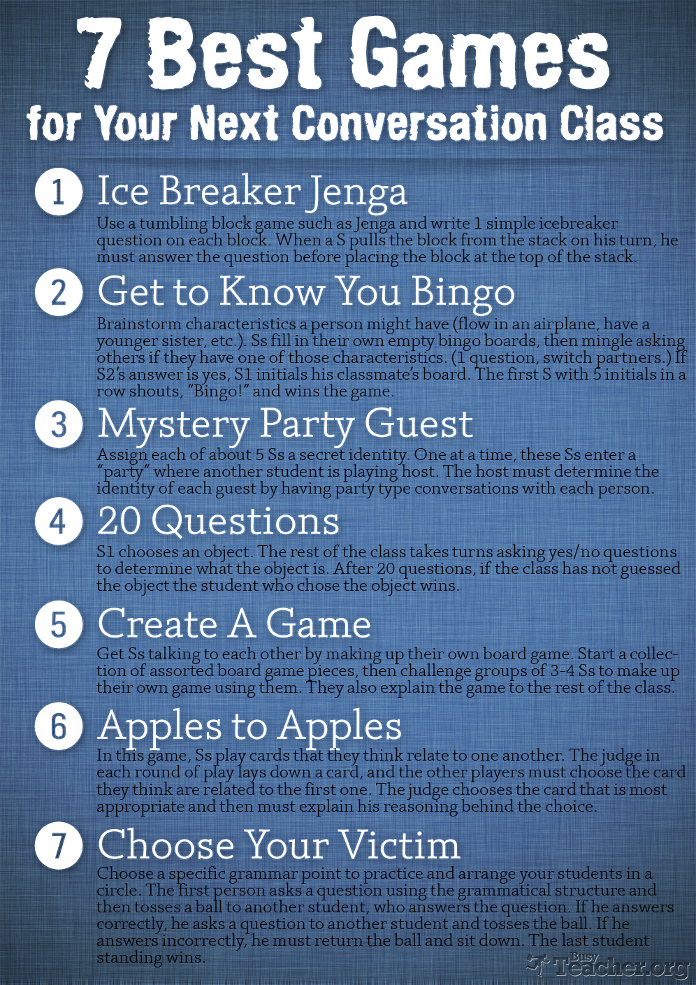 POSTER: 7 Best Games for Your Next Conversation Class