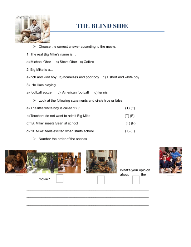 Worksheet The Blind Side – Movie Worksheet