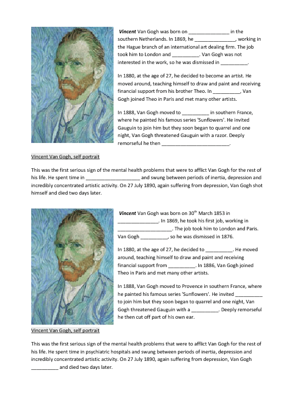 Sunflowers by Van Gogh Art Appreciation Worksheet / Activity