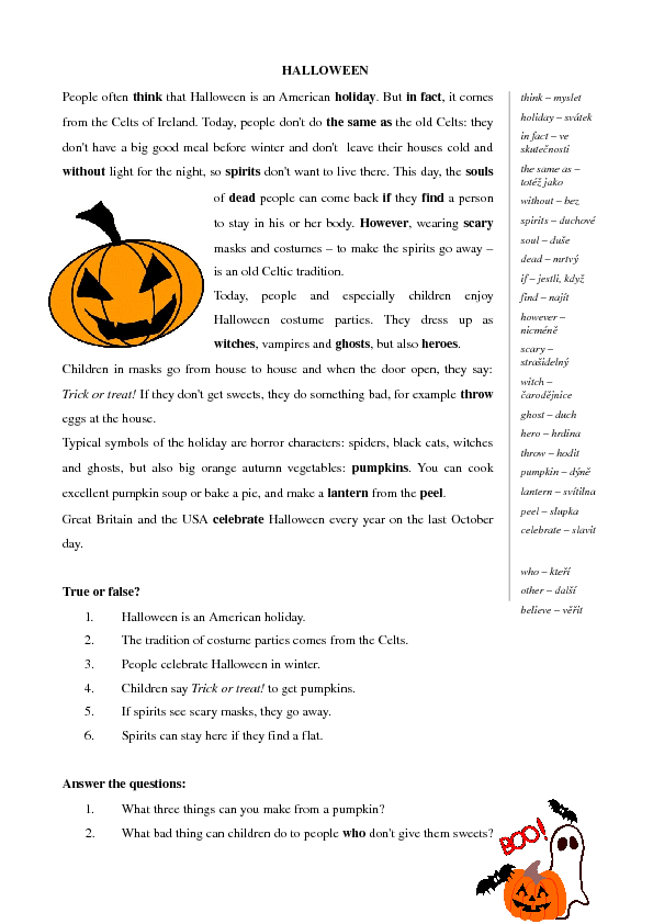 for Elementary Students – Halloween Reading Worksheets