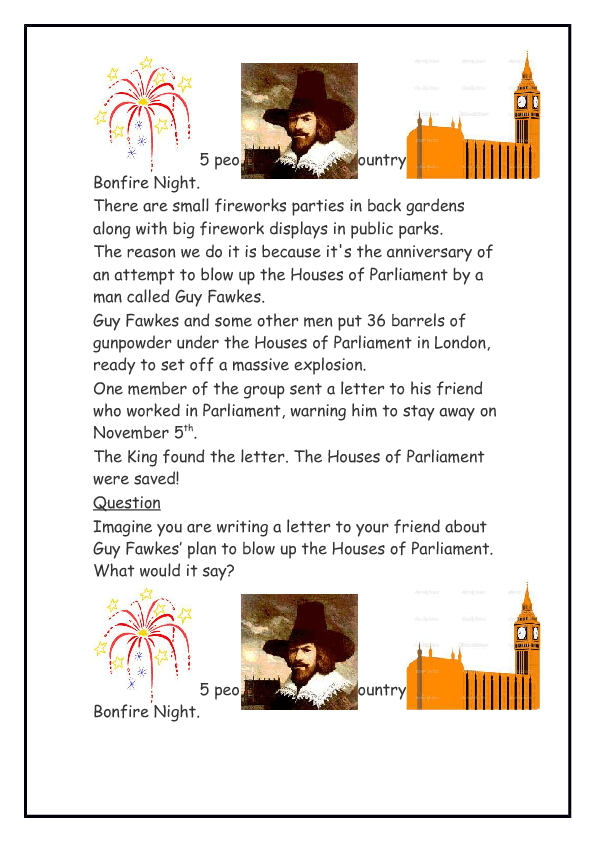Guy Fawkes and the Bonfire night story English Lesson Plan