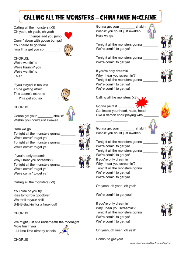 Printable Worksheets halloween homework worksheets : All The Monsters: Halloween Song Worksheet