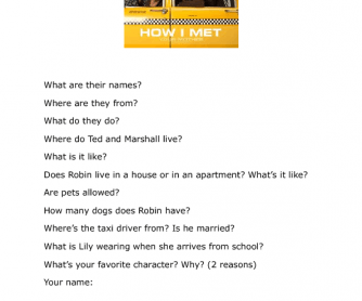 Movie Worksheet: How I Met Your Mother [s01e01]