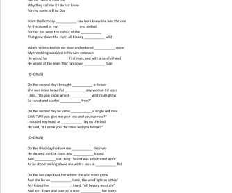 Song Worksheet: Where The Wild Roses Grow by Nick Cave