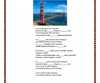 Song Worksheet: If You're Going to San Francisco