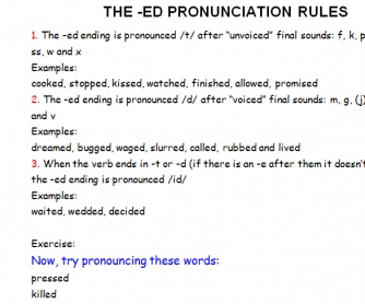 The -ED Pronunciation Rules