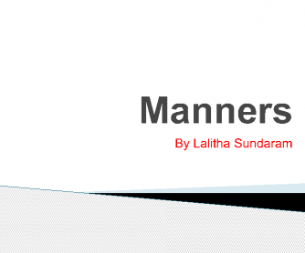 PPt On Manners