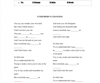 Song Worksheet: Everybody's Changing [Present Continuous]
