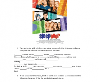 Movie Worksheet:Sleepover