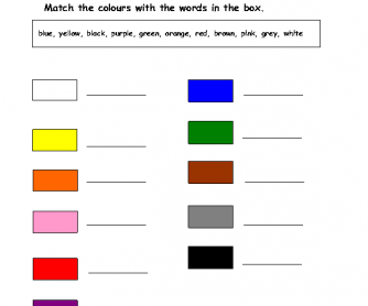 Matching the Colours with the Words in the Box