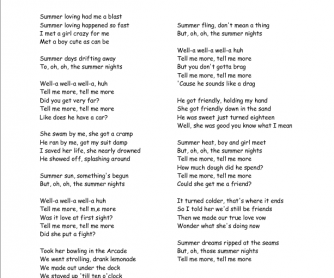 Past Tense Song Worksheet: Summer Nights from Grease