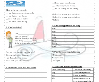 Song Worksheet: I Am Sailing by Rod Stewart