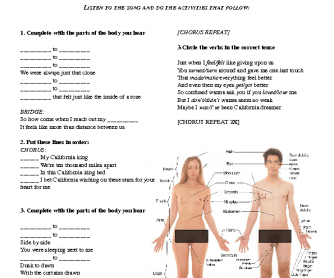Song Worksheet: California King Bed by Rihanna [Parts of the Body]