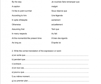 Test on Common Expressions (For French Speaking Students)