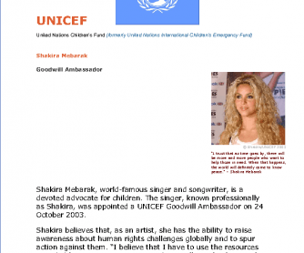 UNICEF Goodwill Ambassador Shakira
