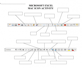 Microsoft Excel (Mac)Toolbars Icon Fill-in Activity