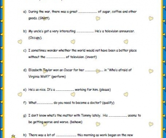Noun Formation Worksheet