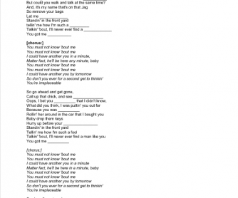 Song Worksheet: Irreplaceable by Beyonce