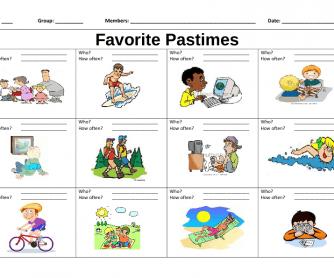 Favorite Pastime Bingo Sheet