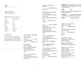 Song Worksheet: Love Story by Taylor Swift