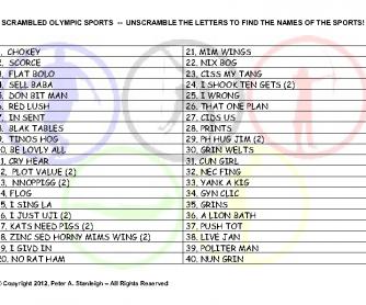 Scrambled Olympic Sports