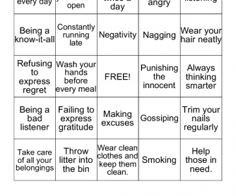 Bingo On Habits For Children