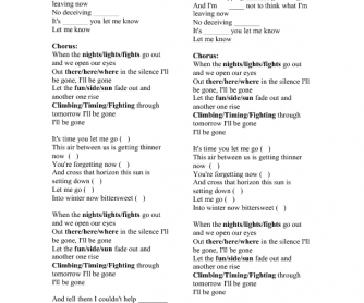Song Worksheet: I'll Be Gone by Linkin Park