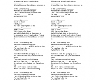 Song Worksheet about Parts of the Body: California Kind Bed by Rihanna