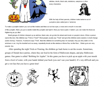 Halloween: Reading Comprehension and Word Search