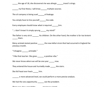 Prepositions Exercise - Gapped Sentences