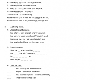 Song Worksheet: Because You Loved Me by Celine Dion
