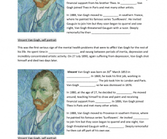 Vincent Van Gogh (Practicing Simple Past Tense)