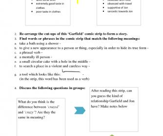 'Garfield' Worksheet - Vocabulary and Speaking