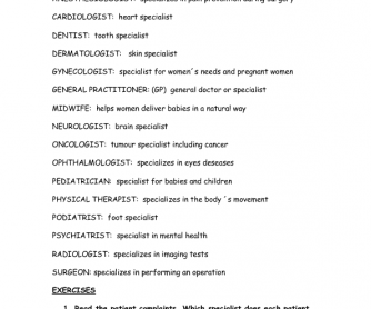 Health Vocabulary: Medical Specialists