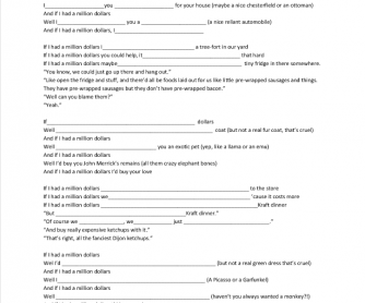 2nd Conditional Song Worksheet: If I Had A Million Dollars by Barenaked Ladies
