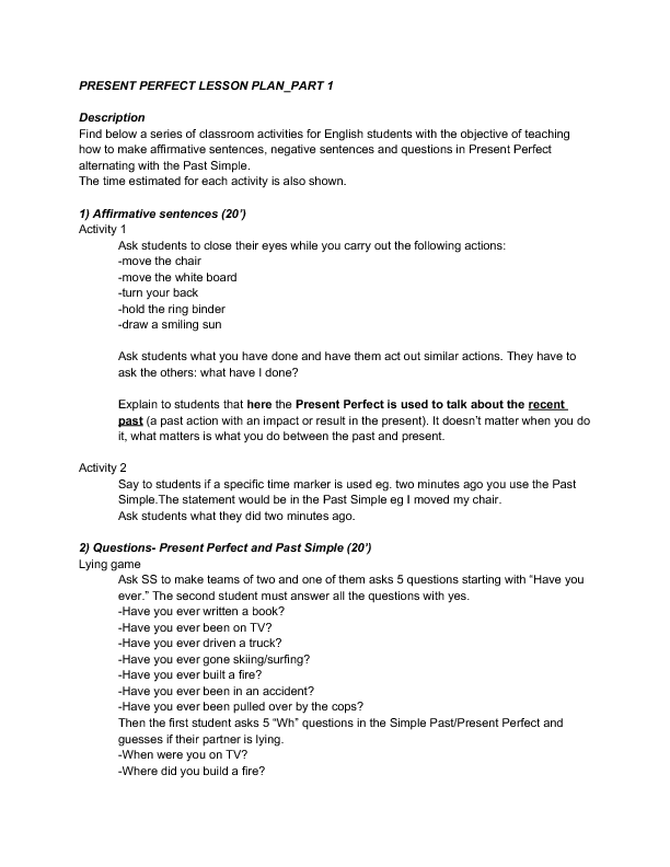 Speaking Skills Lesson Plan Present Perfect And Past Simple