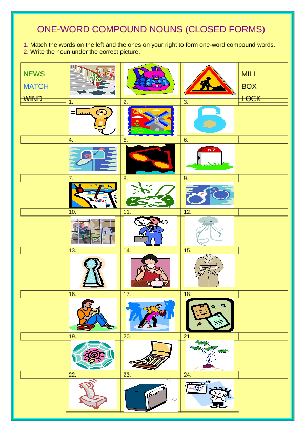 word Compound Noun Closed Forms – Compound Nouns Worksheet