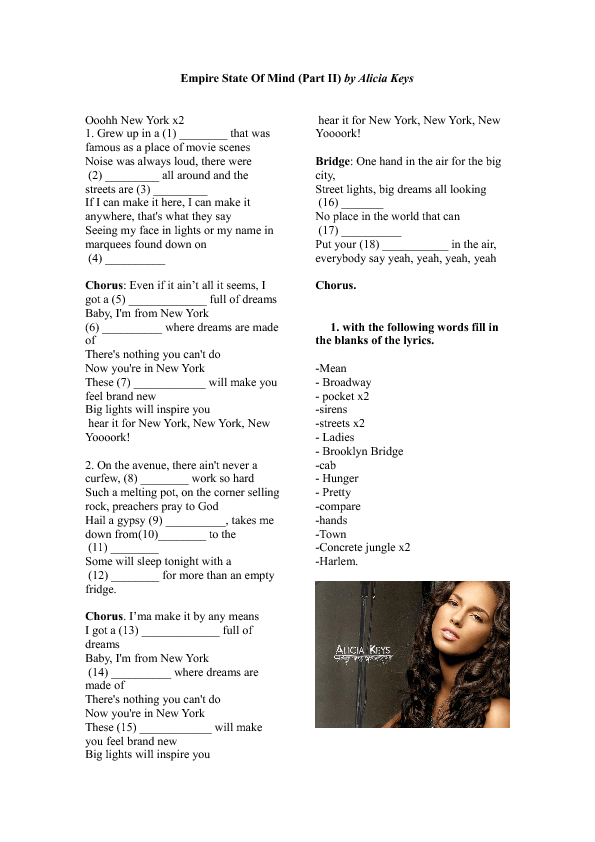 Song Worksheet: New York (Empire State of Mind) by Alicia Keys