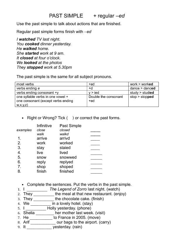 Simple Regular Verbs ed Endings – Ed Ending Worksheets