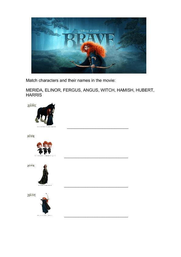Movie Worksheet Brave 2012