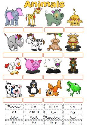 Animals Cut And Paste Activity