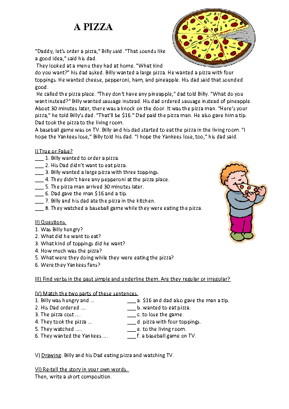 Worksheets Reading Comprehension For Kids a pizza past simple reading