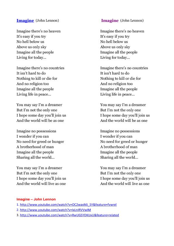 Song Worksheet Imagine By John Lennon
