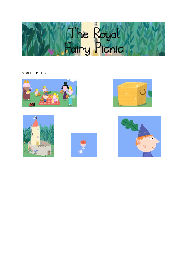 Cartoon Worksheet Ben and Holly The Royal Fairy Picnic