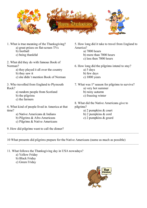 Video Worksheet The Story of Thanksgiving