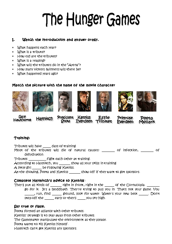 Printables Hunger Games Worksheets session the hunger games video games